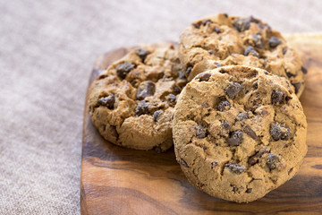 american cookies on wooden table