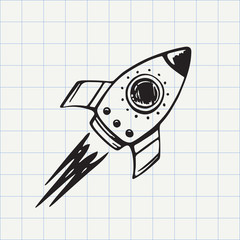 Rocket ship doodle icon. Hand drawn sketch in vector