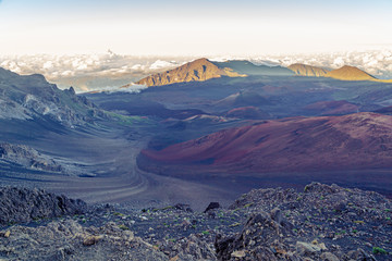 The colorful, otherworldly terrain of Haleakala Crater at sundown on Maui, Hawaii