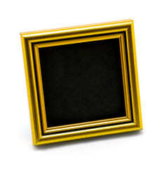 Square classic empty gold photo frame black inside isolated on white
