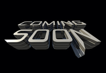 Coming soon message on black background RAW render