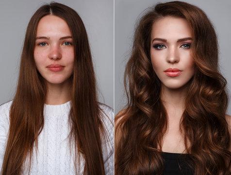 Comparison after makeup and retouch