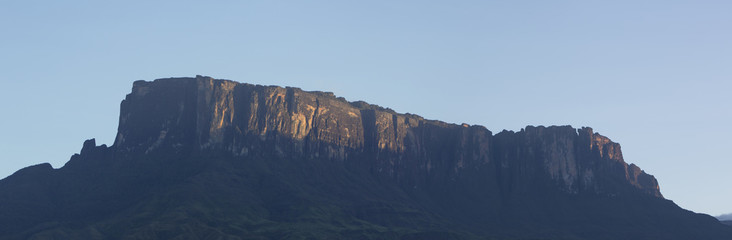 Kukenan tepui or Mount Roraima with blue sky in the morning. Ven