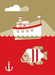 Boat and Fish.Boat and Fish