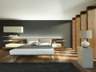 Bedroom with Beams and Wood