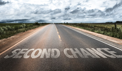 Second Chance written on rural road