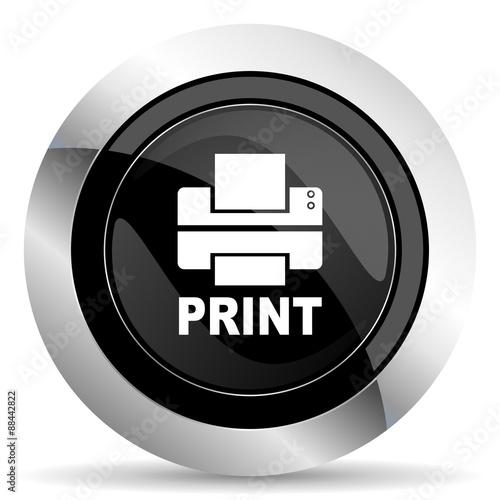 """""""printer icon, black chrome button, print sign"""" Stock ..."""