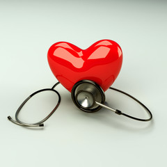 Red heart and a stethoscope is diagnosing  the heart beat