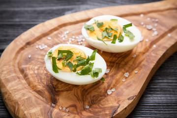 Boiled eggs on a cutting board