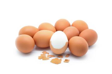 Isolated boiled egg on white background