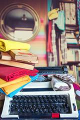 Vintage typewriter and books series