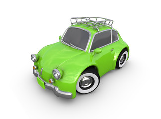 Little retro car. The image contains ACCURATE CLIPPING PATH for the graphic editor so that you can easily change the background color while preserving reflections and shadows.