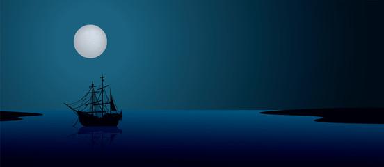 Ship under the moonlight. Night scene landscape illustration