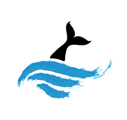 fish in water, vector logo