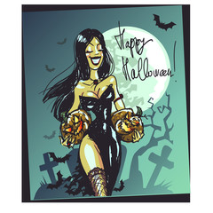 Halloween witch with pumpkin. Happy Halloween card