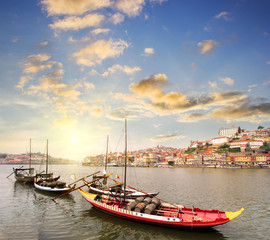 view of Douro riverside, Porto , Portugal. Colorful Travel background