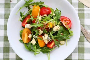 fresh salad with tomatoes slice