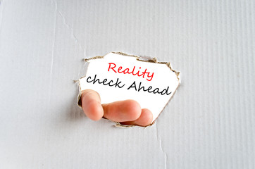 Reality check ahead Text Concept