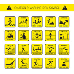 Caution and Warning Signs in Public and Construction Zone, Danger, Hazard Symbol Set
