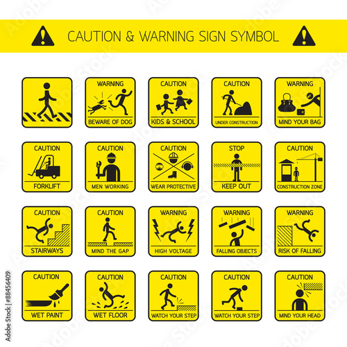 Caution And Warning Signs In Public And Construction Zone Danger