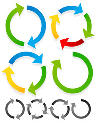 Circular arrows for recycle, repetition, rotation or cycle, sync