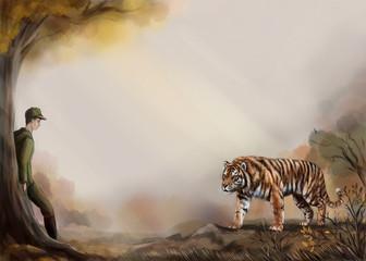 Тигр и охотник в лесу. Иллюстрация с местом для текста