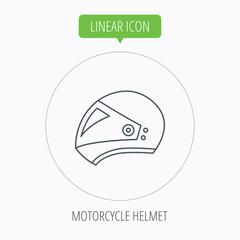 Motorcycle helmet icon. Biking sport sign.