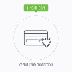 Protection credit card icon. Shopping sign.