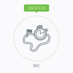 Race road icon. Finishing flag with timer sign.