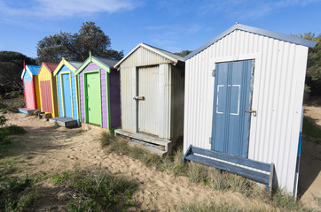 Six bathing boxes wide