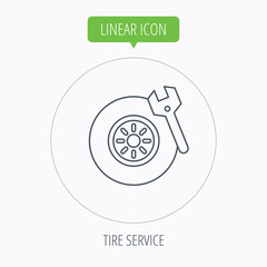 Tire service icon. Wheel and wrench key sign.