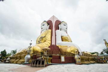 Buddha Statue, Kyaikpun Pagoda in Bago, Myanmar