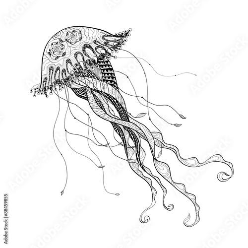 doodle sketch medusa jellyfish black line
