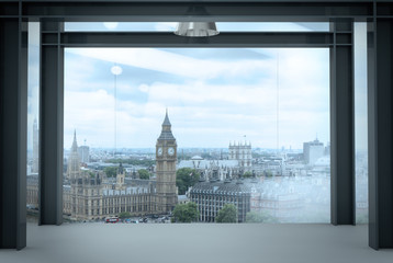 Fotobehang Londen interior space of modern empty office interior with london city