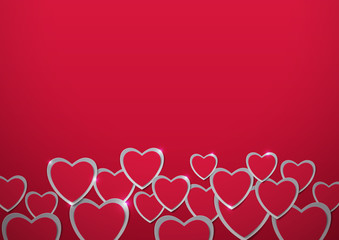Valentines Day. Hearts cut out from Paper