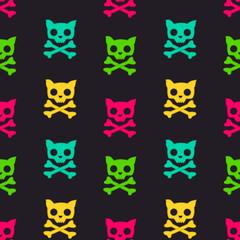 cartoon colorful cat skull seamless vector pattern illustration