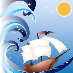 A ship with sails on the waves