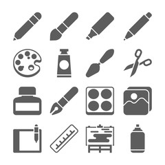 Graphic tools signs. vector set of art icons