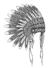 Native American indian headdress with feathers in a sketch style