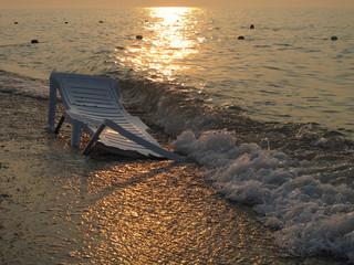 Deckchair near the water