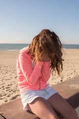 Girl sad crying on summertime