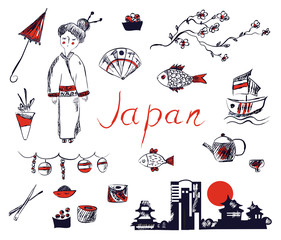 Set of Japan symbols - hand drawn design