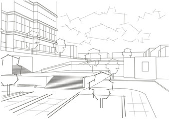 Linear architectural sketch residential quarter
