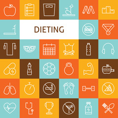 Vector Flat Line Art Modern Sport and Dieting Icons Set