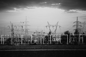 black and white industrial background with electricity station