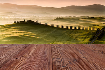 Wall Mural - Tuscany road with cypress trees at sunst morning, Val d'Orcia, I
