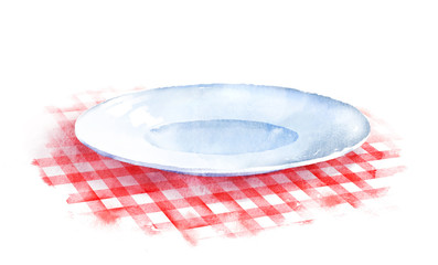 Plate on checkered tablecloth.
