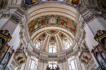 Inside view of Salzburg cathedral dome-Austria