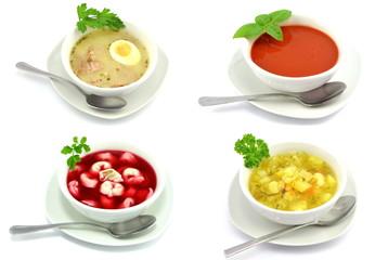 Obraz zestaw różnych zup - fototapety do salonu