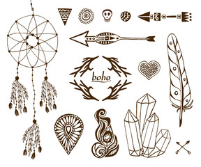 Hand-drawn boho collection with arrows, crystal,  feather, dreamcatcher, ethnic elements for design.